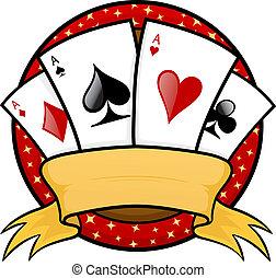 Four aces poker emblem vector illustration
