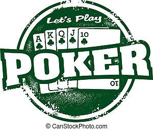 Vintage poker tournament game stamp.