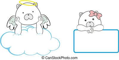 polar bear angel cartoon copyspace