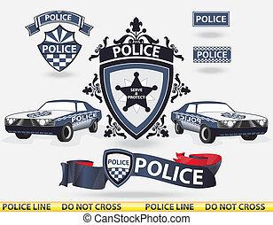 Police elements - vector