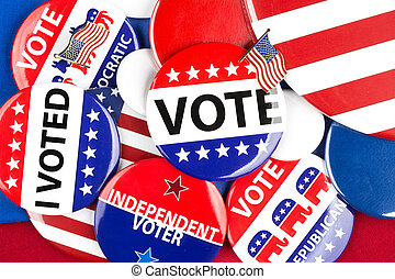 A colorful collection of American national political vote badges,