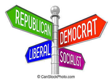Politics concept - colorful signpost