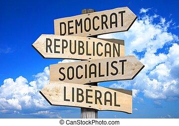 Politics concept - wooden signpost