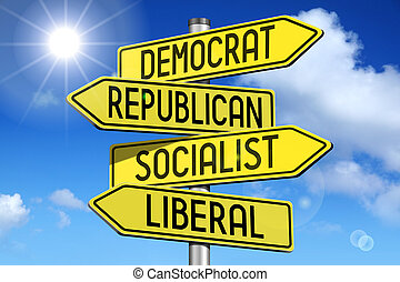 Politics concept - yellow road-sign