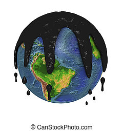 One 3d planet heart covered of pollution