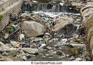 Pollution in asian river