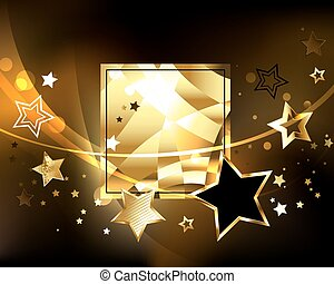 Polygonal banner with golden stars