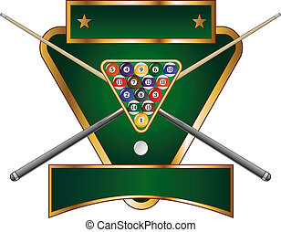 Illustration of a pool or billiards design that includes a rack of pool or billiard balls and crossed sticks or cues.