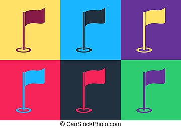 Pop art Golf flag icon isolated on color background. Golf equipment or accessory. Vector