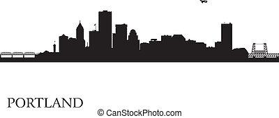 Portland city skyline silhouette background