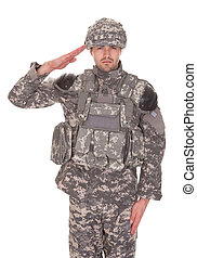 Man In Military Uniform Saluting Over White Background