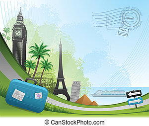 Postal card travel concept background