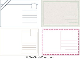 Blank postcard vectors isolated on white in 4 different styles