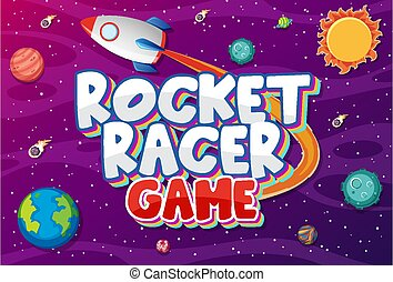 Poster design with rocket racer game in space background