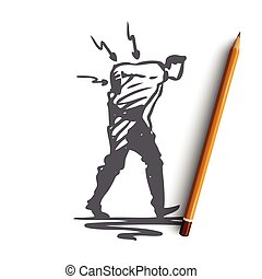 Posture, bad, spine, pain, back, problem concept. Hand drawn isolated vector.
