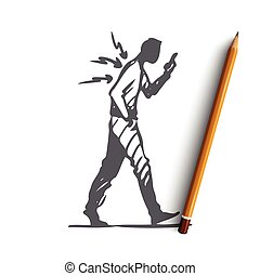 Posture, bad, spine, phone, walk concept. Hand drawn isolated vector.