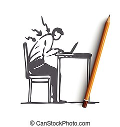 Posture, bad, spine, sit, table, wrong concept. Hand drawn isolated vector.