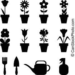 Pot flowers icons set