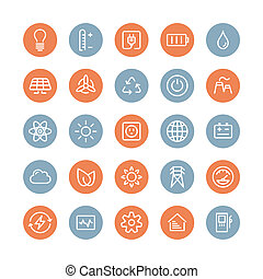 Flat line icons modern design style vector set of power and energy symbol, natural renewable energy technologies such as solar, wind, water, geothermal heat, bio fuel and other innovation ecology recycling elements. Isolated on white background.