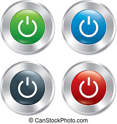 Power button. Turn on round stickers collection.