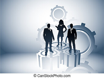 Team leaders business concept with people on cogs. Vector illustration.