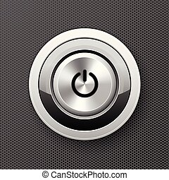 Power off-on button icon - launch push button, starter metal knob