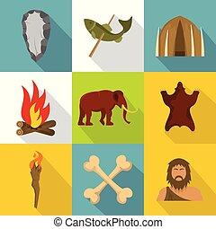 Prehistoric icons set, cartoon style