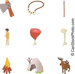 Prehistory icons set, cartoon style