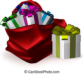 an illustration of gifts bursting from a festive red sack