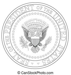A depiction of the seal of the president of the United States of America in black and white outline