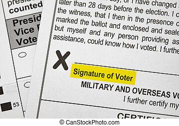 Presidentail Voting Ballot Signature