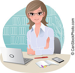 Confident woman at office with laptop computer, mobile phone, and schedule notebook. Gradients, Blending tool, Clipping mask is used.