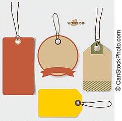 Price tag, sale coupon, voucher. Vintage Style template Design vector illustration.