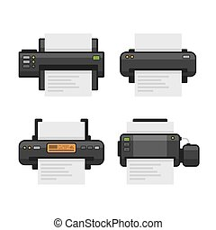 Printer Icon Set. Flat Style. Vector