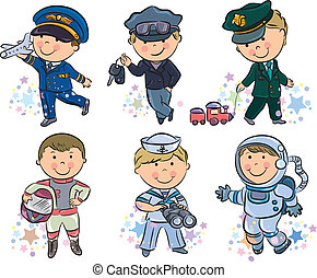 Professions kids set 1. Contains transparent objects. EPS10.