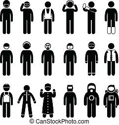 A set of pictogram representing worker safety attire.