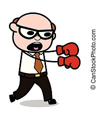 Punching - Retro Cartoon Father Old Boss Vector Illustration