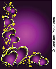 Purple and Gold Hearts Valentines Background