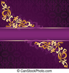 purple banner with gold ornaments