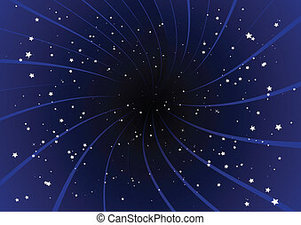 Purple burst and stars.