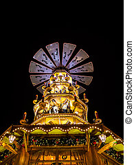 Pyramid on the Christmas Market in Rostock, Germany