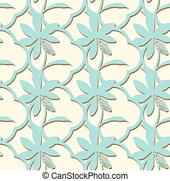 quatrefoil with flowers seamless vector pattern