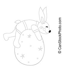 Rabbit with egg coloring page