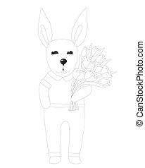 Rabbit with flower coloring page