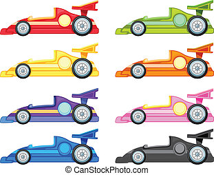 illustration of various cars on a white background