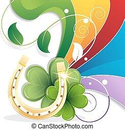 Rainbow and gold horseshoe