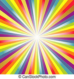 Rainbow background with rays