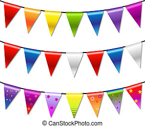 Rainbow Bunting Banner Garland, Isolated On White Background, Vector Illustration