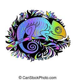 Rainbow Chameleon Drawn by Hand in Doodle Style on Yellow Illuminating.
