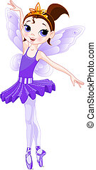 Violet Cute fairy ballerina. Wings and glitter are separate groups.